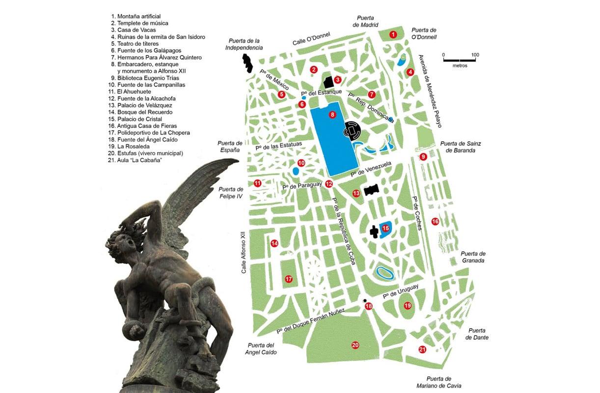 mapa del parque del retiro