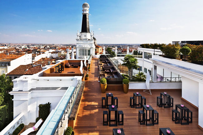 Height of the madrid rooftop terrace